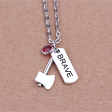 45+5cm Retro Silver Link Chain Necklace Birthstone Fashion Jewelry Brave Axe Pendant Charm Necklace For Women Girl Gift