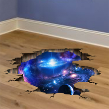 [SHIJUEHEZI] Outer Space Planets 3D Wall Stickers Cosmic Galaxy Wall Decals for Kids Room Baby Bedroom Ceiling Floor Decoration(China)