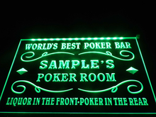 DZ044- Name Personalized Custom World's Best Poker Room Liquor Bar Beer Neon Sign  hang sign home decor  crafts