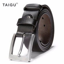 TAIGU Men Belt Fashion Solid Italian Cow Leather Belt For Men 3.8CM Width Metal Pin Buckle Free Shipping