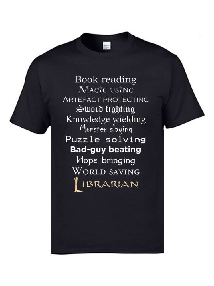 Librarian white text 8095 Tops Shirts Discount O Neck Casual Short Sleeve 100% Cotton Men's T Shirt Group Tee-Shirts Librarian white text 8095 black