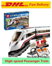 Lepin 02010 610Pcs New Creator Series The High-speed Passenger Train Remote-control Trucks Set Building Blocks Bricks Toys 60051