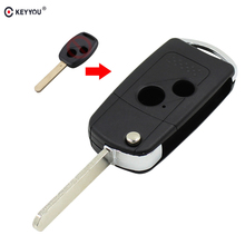 KEYYOU 2 Button Remote Flip Folding Key Shell Case Cover For Honda CRV Fit Accord Civic(China)