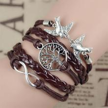 2017 New Infinity Love Leather Love Owl Leaf Charm Handmade Bracelet Bangles Jewelry Friendship Gift Items 2pac/lot
