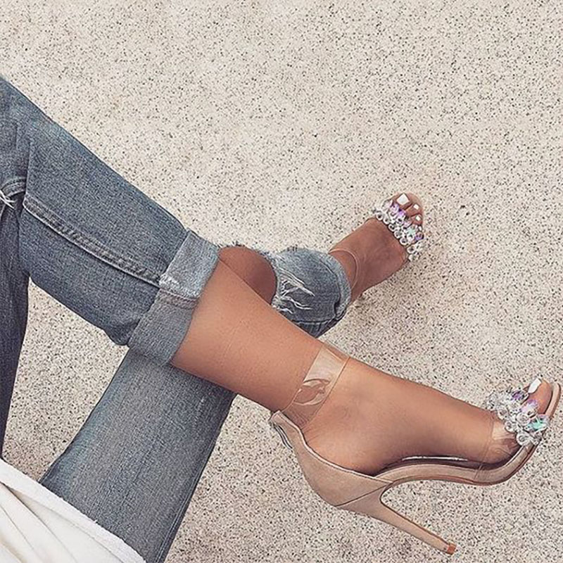 2018 new fashion sexy spring summer ladies sandals shoes girls women crystal open toe high heels woman shoe sandal thin heel <br>