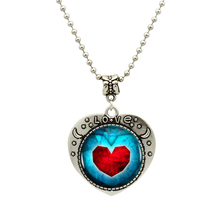 1pcs/lot Heart Of Ocean Pendant Necklace Antique Silver Chain Statement Handmade Heart Necklace For Best Friend Gift(China)