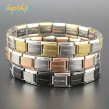 Hapiship 9mm 2017 Fashion Man/Women's Jewelry Letter Stainless Steel Wish Bracelet Bangle For Friend Birthday Wife Gift G002