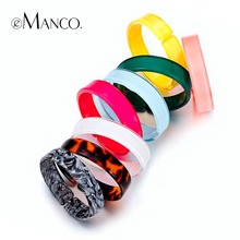 eManco Wholesale Acetic Acrylic Bangles 8 Items Cuff Bangles for Women 2018 New Arrivals Summer Style Fashion Jewelry(China)
