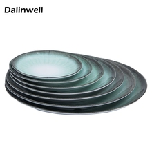 6-12 Inch Dark Green Emerald Melamine Round Snack Cake Dish Plate Literary Retro Imitate Porcelain Hot Pot Restaurant Tableware
