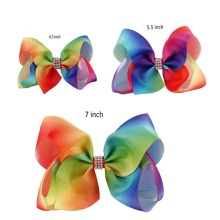 "1 Set(3pcs) 7""5.5""4.5"" Rainbow Ribbon Silver Rhinestone Hair Bow With Clip For Girls Boutique Rainbow Hair Accessories For Kids"