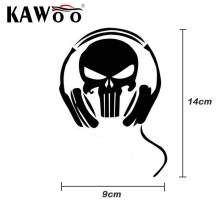 KAWOO Skull With Earphone Car Stickers The Skeleton Car Stickers Car Decals Art Decor Styling for Any Car Body 14*9CM