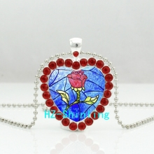 New Red Rose Heart Necklace Beauty and the Beast Crystal Pendant Princess Jewelry Heart Shaped Necklace
