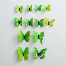 2set (24pcs.) Creative Pattern Green PVC Butterfly 3D Wall Stickers Butterflies Art Animal Carton Wall Stickers Room Decor(China)