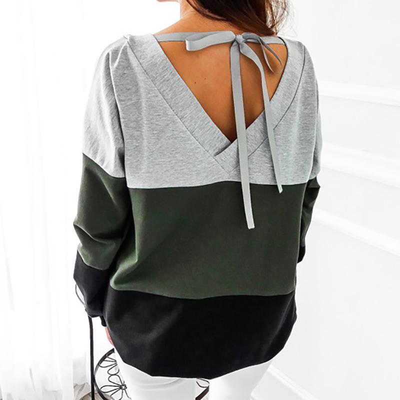 Sweatshirt, Women's Sweatshirt Patchwork Pullover 20