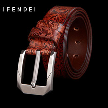 IFENDEI Belt Men Genuine Brown Leather Belt Luxury Business Metal Pin Buckle Belts Casual Black Red Leather Strap For Suit Jeans(China)