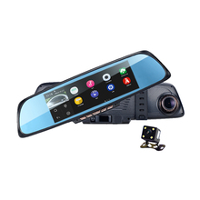 "Android 4 GPS Navigation Mirror Car DVR dual lens camera rear parking WiFi FM Transmit 6.86""Touch RAM 1GB ROM 16GB 2 Split View"