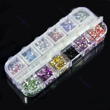 3pcs/lot 12 Colors Teardrop Nail Art Rhinestones Glitters Deco Colorful Gems #H027#(China)