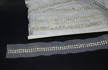 Free ship,double rows SS19  rhinestone sew on mesh trimming,5yards/lot,crystal rhinestone banding for diy,white fabric chain