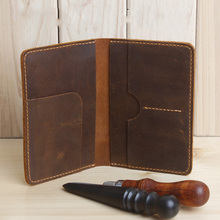 Handmade Genuine Leather Men Passport Cover Travel Leather Passport Holder Wallet travel organizer Covers on the Passport(China)