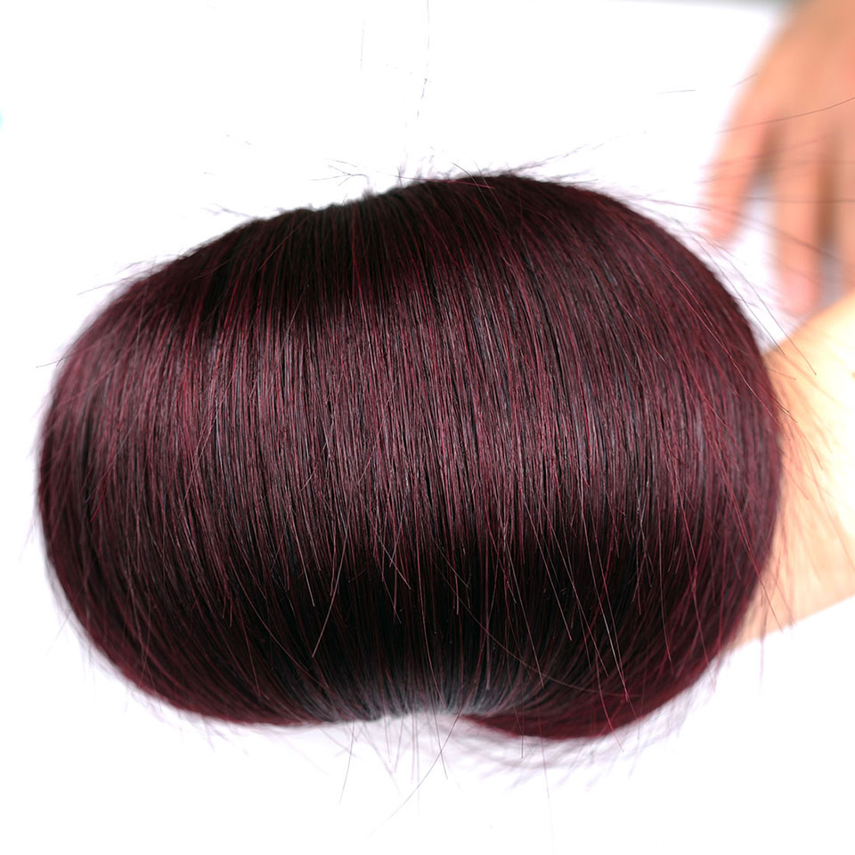 Pinshair Burgundy Straight Hair Bundles Deals Human Hair Weave 4 Bundles Non Remy Pre-colored Brazilian Hair Extensions No Smell (30)