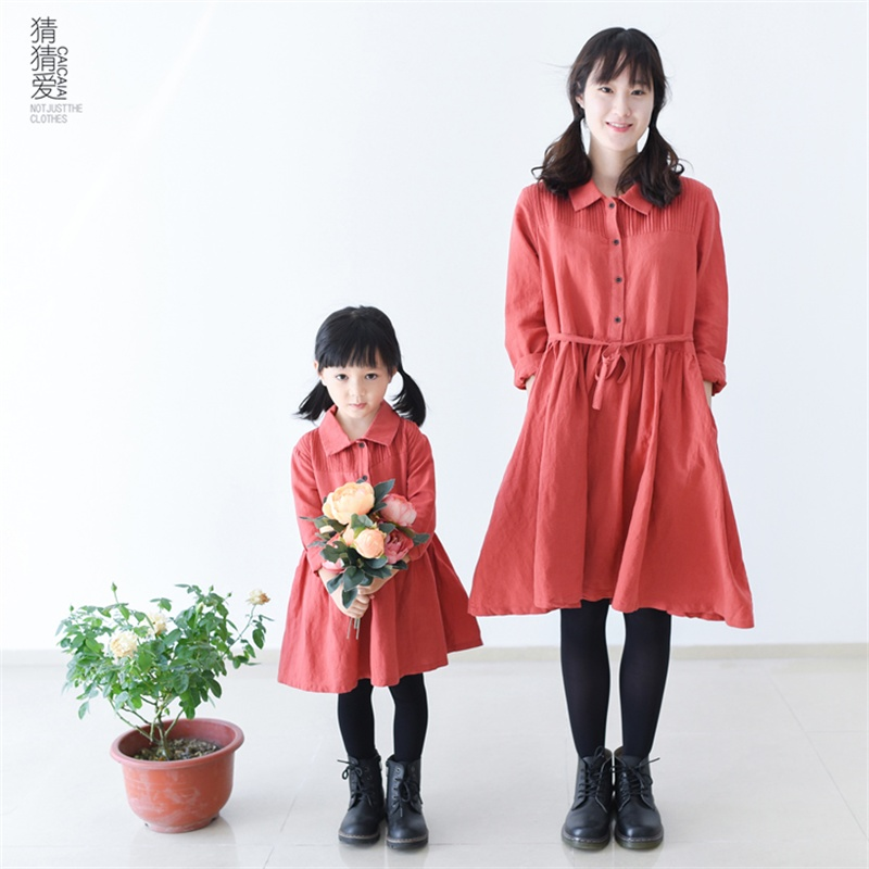 2015 Spring Autumn cotton linen long sleeves vintage casual girls mother one piece shirt dress children family matching clothes<br><br>Aliexpress