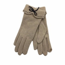 2017 Leather Feel Ladies Wool Gloves Women Solid Color Bow Tie Woolen Cashmere Glove Beige Coffee Blue Hand Warm Winter #263485(China)