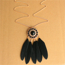 H:HYDE Hot Vintage black feather necklaces pendants long sweater chain jewelry womens jewellery accessories