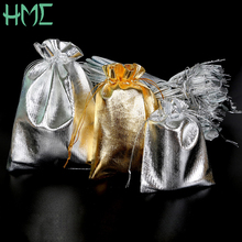 Wholesale 50pcs/lot 7x9/9x12/10x15/13x18cm Metallic Gold/Silver Color Drawable Organza Pouch Christmas Wedding Gift Jewelry Bag