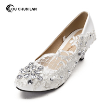 free shipping White Wedding Shoes office Shoes Bridesmaid/Bridal Shoes rhinestone lace Shoes High Heels Women Pumps size 41-44(China)