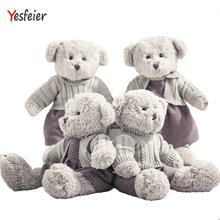 45/55cm Cute new style gray bear plush toys lovers bear doll stuffed animals pillow baby cushion birthday gift(China)