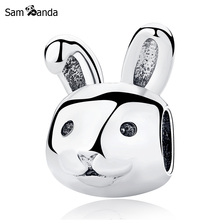 Authentic 925 Sterling Silver Charm Bead Easter Day Remarkable Rabbit Charms Fit Pandora Bracelets & Bangles Women DIY Jewelry(China)
