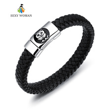 SEXY WOMAN Korea Fashion Owl Weave Skin Bracelet for Men Titanium Steel Animal Design Magnet Buckle Male Wrap Party Jewelry Gift