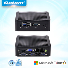 QOTOM Quad core Mini PC Q190P with 2 display port, 2 LAN, 4 USB, 4 COM, fanless Mini PC bay trail j1900(China)