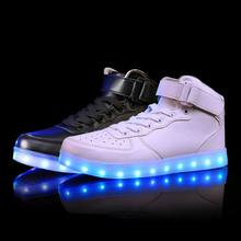 2018 New Kids Boys Girls USB Charger Led Light Shoes High Top Luminous Sneakers casual Lace Up Shoes Unisex Sports for children(China)