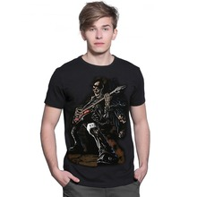 3D printing music punk men 's T - shirt guitar skeleton men short - sleeved Europe and the United States street fashion clothing