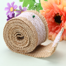 2M Roll Linen Lace Handmade Natural Vintage Jute Hessian Burlap Ribbon Rustic Weddings Belt Strap Floristry Wholesale 200CM Long(China)