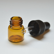 5pcs Small Amber Glass Bottle Sample Vial For Essential Oil Perfume Tiny Portable 1ml Bottle