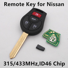 3+1 buttons Car Remote Key 315MHz/433MHz for Nissan March Sunny Tiida Sylphy Maxima Altima Sentra with Chip PCF7946