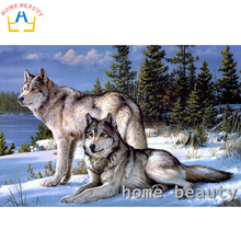 HOME BEAUTY diy 3d diamond painting picture of rhinestones canvas paint diamond mosaic embroidery animals snow wolf craft AA061