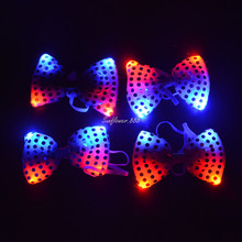 NEW 15PCS Wedding Party Glowing tie light up toy Female Male flashing led bow tie dancing stage decoration     Halloween
