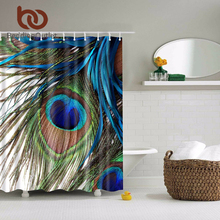 BeddingOutlet Peacock Feather Abstract Paintings Bathroom Shower Curtain Art Polyester Fabric Home Decor 71 x 71 Inch 180x180cm