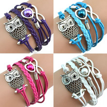 2017 Hot Multilayer Leather Braided Bracelets Infinity Owl Imitation Pearl Jewelry Bracelet Bangle All-match Pulsera Four Colors