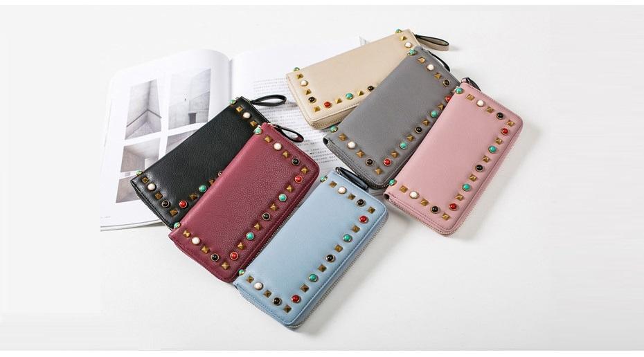 MJ Women Wallets Long PU Leather Zipper Wallet Luxury Brand Ladies Colorful Rivets Card Holder Clutch Purse Wristlet Phone Bag (23)