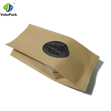 10x28cm(4x11in) Brown Heat Sealing Tear Notches Kraft Paper Package Bags Candy Coffee Bean Open Top Storage Bag w/ Clear Window
