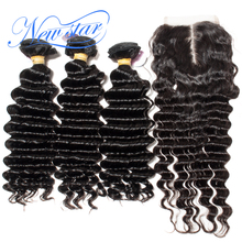 Deep Wave 3 Bundles Weft With A Middle Part Lace Closure Brazilian Virgin Thick Human Hair Extension New Star Raw Hair Weaving(China)