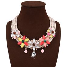 KLEEDER Colorful flower crystal pendant Multi-layer wave knitting necklace short clavicle statement necklace women jewelry