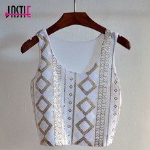 Jastie O-Neck Sleeveless Women Crop Tops Geometric Pattern White Sequins Short Vest Bling Bling Chic Female Tank Shirt Camisole(China)