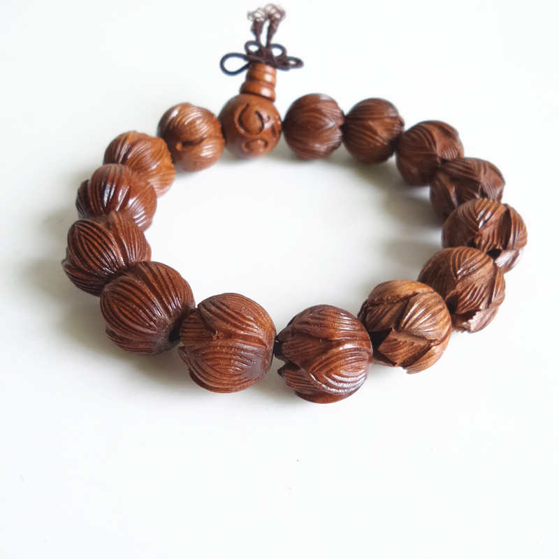 BRO627 Buddhist prayer Wrist hand Mala natural Dates Carved Lotus Bracelet 15mm for Man OM(China (Mainland))