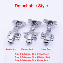 Hot 4PCS Stainless Steel Soft Close Concealed Kitchen Cabinet Hinge Copper Buffer Hydraulic Furniture Cupboard Hinges Detachable