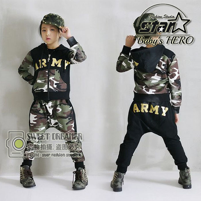 2018 Autumn Winter Childrens Clothing Set Costumes Kids Sport Suits Army Camouflage Patchwork Hip Hop Street Dancing Costumes<br>